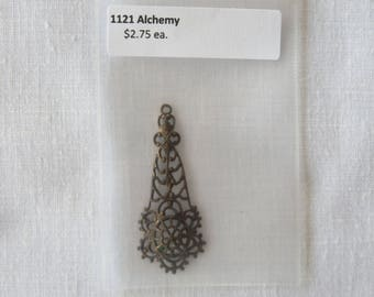 1121 Alchemy Chandelier Drop charm, bronze