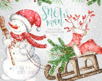 Snowman Watercolor Christmas Clipart, Holiday Winter Set, Christmas stocking, sled, snowflakes, spruce, pine, decorations, Greeting card