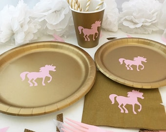 Unicorn Party Pack - Mythical Birthday Plates - Unicorn Cups - Princess Party - Fairy Tale Plates Magic Cups - Horse Party - Animal Birthday