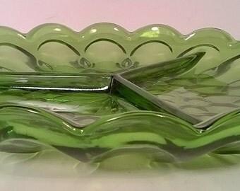 Vintage Green Divided Serving Dish
