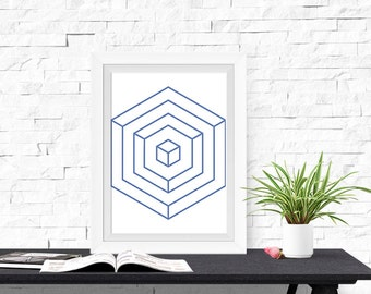 Geometric Design Hexagon Lines 8x10 inch Poster Print - P1211