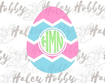 Easter Egg Monogram SVG Easter Cut File Digital Download Silhouette