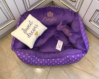Purple  and polka dot dog bed Purple and ivory princess dog bed  Personalized dog bed Custom made bed for cat Luxury dog bed Puppy bed