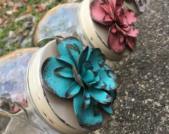 Rustic jars - set of 3 - pink, blue, & white flowered vintaged kitchen storage containers - kitchen and dining decor -  housewarming gift