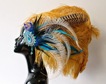 Blue and yellow feather headpiece