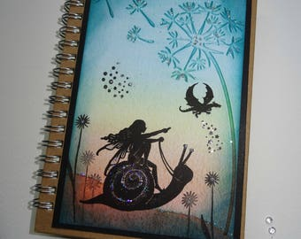 A6 Handmade Fairy Notebook, Fairy Journal,Fairysparkled Journal, OOAK fairy Notebook, Fairy and snail notebook .Mothers day gift, birthday