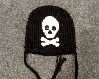 "By KnottedwLove Designs. Crochet toddler ""skull and crossbones"" hat."