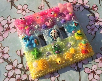 Kawaii bling decoden light switch cover double light switch plate