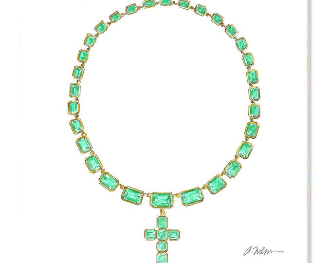 Featured listing image: Georgian Necklace Watercolor Rendering in Yellow Gold with Green Paste Stones printed on Canvas