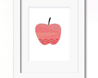 A4 red patchwork apple print