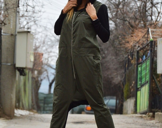 Military Jumpsuit With Black Hooded, Long Zipper Jumpsuit Side Pockets, Overall Cotton Romper By SSDfashion