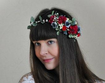 Floral crown Wedding flower crown Flower Hair Wreath Wedding Hair Flower Crown Bridal Wreath Floral Hair Crown Bridal flower crown Girl LV12