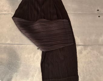 Issey Miyake Pleats Please trousers, Vintage authentic Issey Miyake geometric pants,  pleated deep brown pants, Issey miyake pants