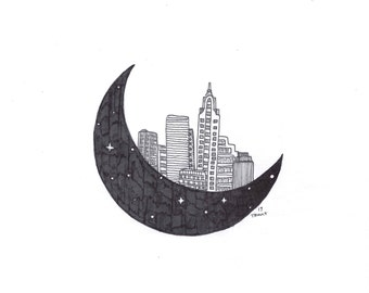 City on Stars - Illustration - Pen and Ink - Drawing - Giclee Print - City Skape - Moon - Minimalist