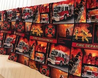 Fire fighter fireman fire truck  curtain valance