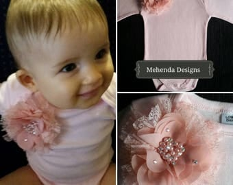 Pink onesie. Baby girl embellished onesie.Sizes 0000,000,00,0,1,2