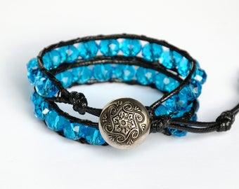 Chunky bracelet Blue Crystal bracelet Handmade bracelet Chunky Crystals Boho Wrap bracelet Aquamarine bracelet Women bracelet gypsy bracelet
