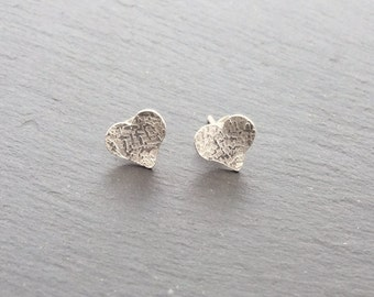 Sterling Silver Heart textured studs, heart earrings, silver studs, earrings, post earrings, silver earrings, valentines gift