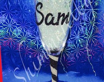 Prosecco glitter glass