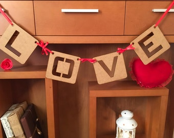 Valentines banner, Love Garland, Love wooden letters, Valentine's day wall decor, Rustic Wedding Garland, Love Wedding Banner, Love Bunting