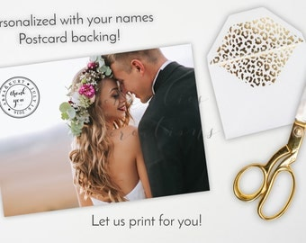 Wedding Thank You Post Card - Wedding Thanks - Thank you cards - Wedding Thank You Card Notes Personalized with your photo