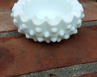 Vintage Milk Glass Trinket Tray, White, Ashtray, Milk Glass Tray