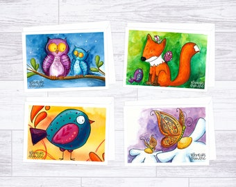 Set of 4 greeting cards, illustrations by Les Bonheurs d'Amélie