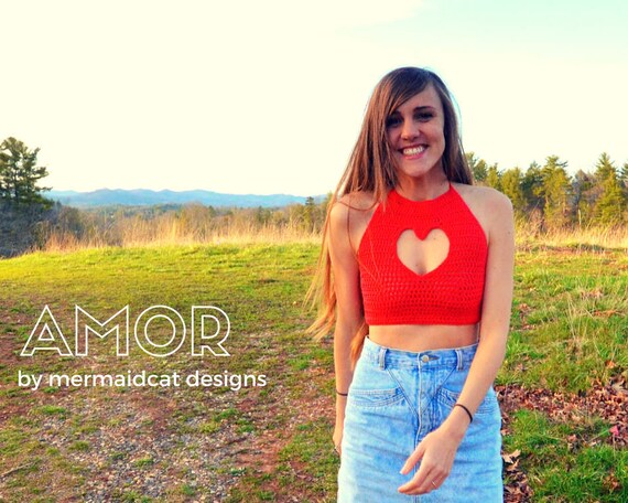 Crochet crop top halter pattern - heart cut out - Amor
