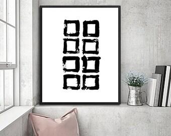 Black decor minimalist art office art abstract  modern home decor minimlaist decor, canvas print  - B28