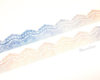 Pink and blue lace washi tape (T00812)