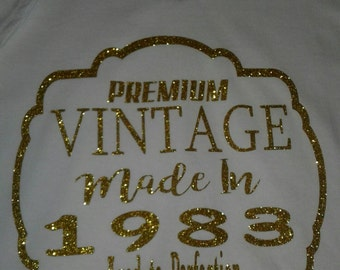 Vintage Birthday Shirt, Bling Birthday Shirt, Birthday Tee, Custom Tshirt, Aged to Perfection Tee