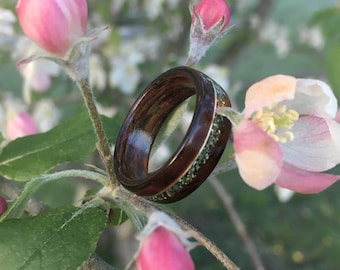 Bentwood Ring - Cocobolo w/ Silver Inlay & Mint Green German Glass