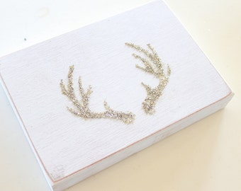 Deer Antlers. German Glitter Glass on Wood Plaque