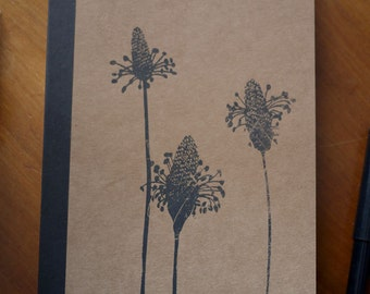 Original, hand printed, A5 screen printed, Mother's Day notebook gift - Dandelion, Ribwort, Nature Screen Print, Lined notebook