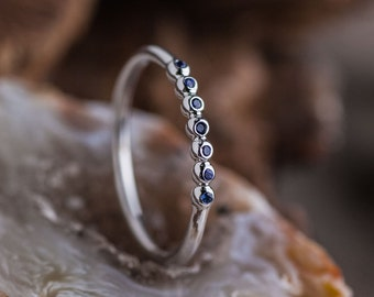 Blue Sapphire Gold Ring, White Gold Bubbles Ring, Natural Sapphire Gold Ring, 14K White Gold Stackable Ring, Zehava Jewelry