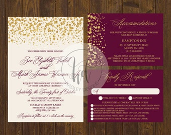 Classic Wedding Invitation, Elegant Wedding Invitation, Gold Wedding Invitation, Traditional Wedding Invite, Modern Wedding Invitation