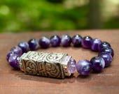 Amethyst stretch bead bracelet with silver alloy bead from Nepal~ February birthstone, reiki jewelry
