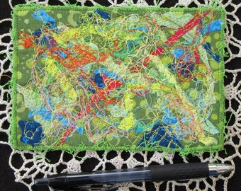 Green Abstract Fabric Postcard, Fiber Art Card, Quilted Postcard, Handmade Card, Mini Art Quilt, 6 inches by 4 inches