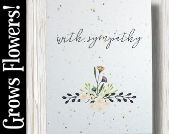 """GROWS WILDFLOWERS! - """"With sympathy"""" - Plant the Card - 100% recycled - #GW007"""
