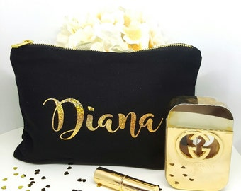 Personalized Cosmetic Bag, Bridesmaid Gift, Make Up Bag, Cosmetic Bag, Custom Cosmetic make up, Bridesmaid Bag,Gold Personalized Bag,