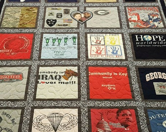 Custom Tshirt quilt. T-shirt quilt made out of 9-49 tees. Memory tee shirt quilt. T shirt quilt, with free embroidered label. DEPOSIT ONLY!