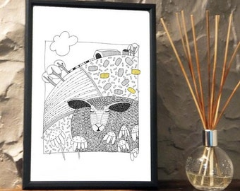 Quirky Sheep in the field Print from an original art Illustration ART025P