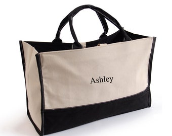 Personalized Canvas Tote Bag - Shopping Bag - Black and Tan