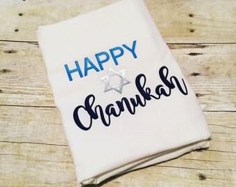 Happy Chanukah Flour Sack Towel | Chanukah Towel | Hanukkah Towel | Hanukah Towel | Decorations | Chrismukkah | Holiday Gift