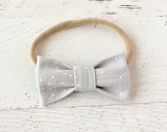 Baby Headband-Bow Headband-Light Grey and White-Nylon-Fabric Bow-Modern-One Size