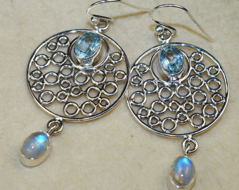 Rainbow Moonstone with Blue Topaz & 925 Sterling Silver Earrings by Silver Trend