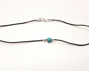 Leather choker with turquoise bead