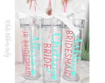12 Custom tall skinny cups, bridal set, personalized cups, bridal shower gift, wedding gift, wedding favors, bridesmaids gift, wedding cup