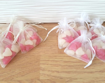 pre filled wedding favour organza bags pink and white jelly beans, mint imperials
