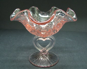 Fenton Heart pink comport Roses pattern.